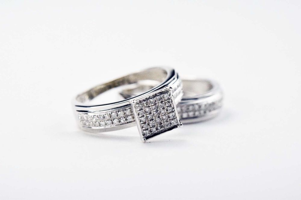 14k White Gold Diamond Band and Diamond Solitaire Matching Rings Size 5.5 #Solitaire
