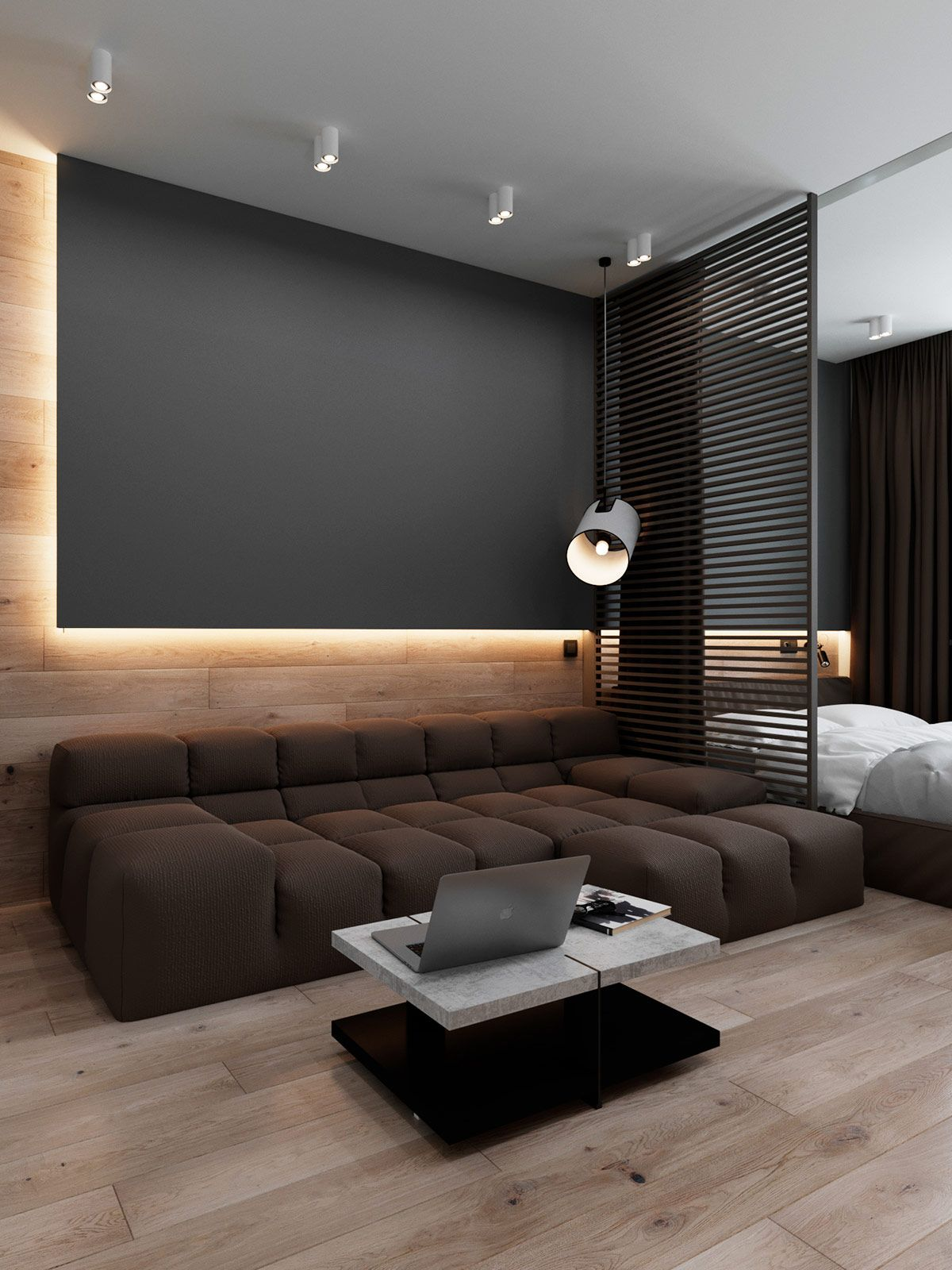 3 Luxury Apartments With Open Plan Bedroom Ideas is part of Luxury Apartments With Open Plan Bedroom Ideas - Luxury studio apartment layouts with three different open plan bedroom ideas see a glass wall bedroom, bedroom screen, and a sleeping capsule with portiere