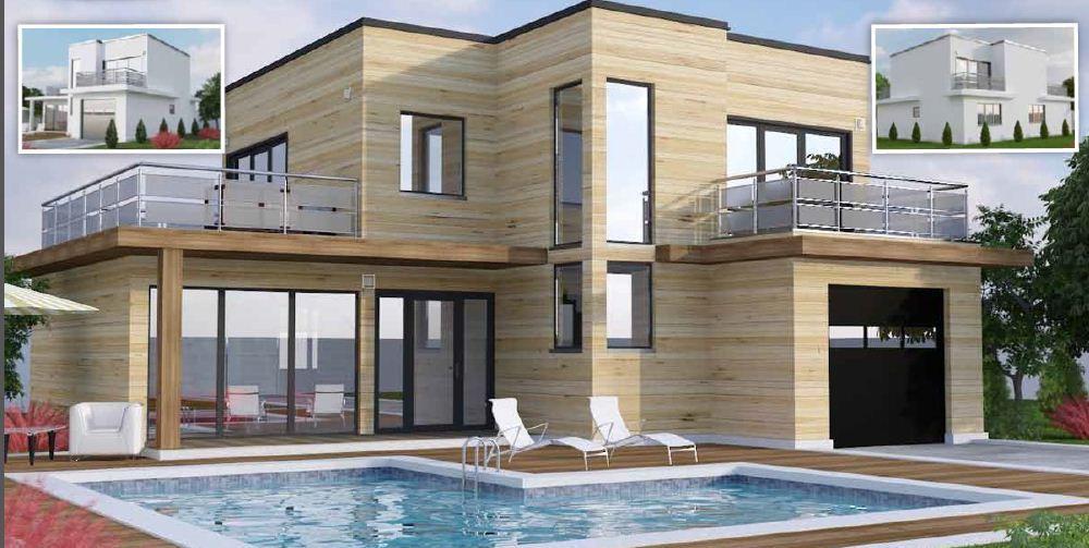 Maison Moderne Toit Plat Toit-Terrasse Cubiques Cubes Carrees