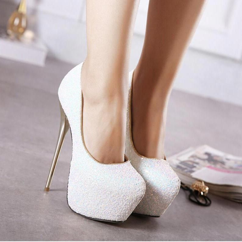 6b9be4ec9578ce Sequins Platform Super High Stiletto Heel Round Toe High Heels Party Shoes