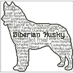 Siberian Husky In Words Cat Dog Cross Stitch Cross Stitch