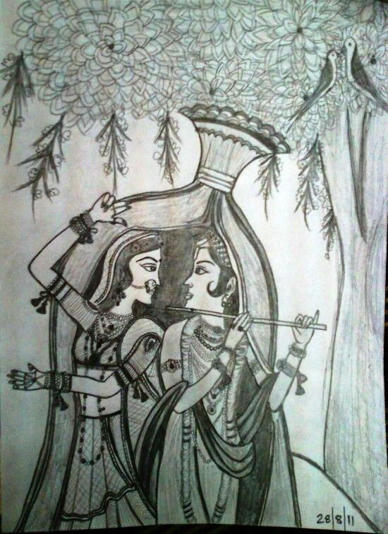 radha krishna sketch