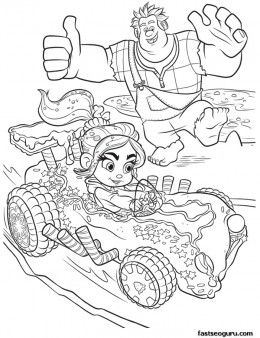 Printable WreckIt Ralph cheering for Vanellope coloring