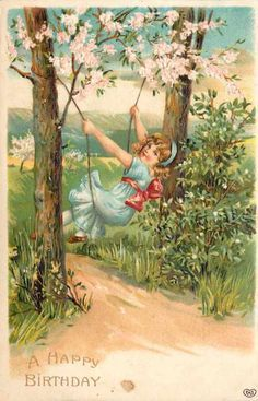 Beautiful Vintage Lady Post Card Happy Birthday