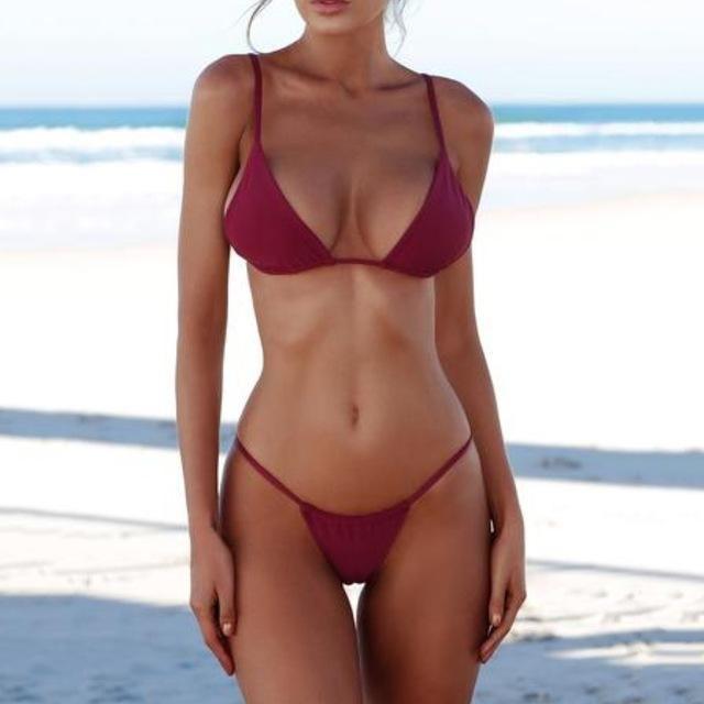 866117af10cd7 Micro Bikini 2018 Swimwear Women Swimsuit Female Sexy Solid Thong Brazilian  Bikinis Set Beach Wear Swimming Bathing Suits