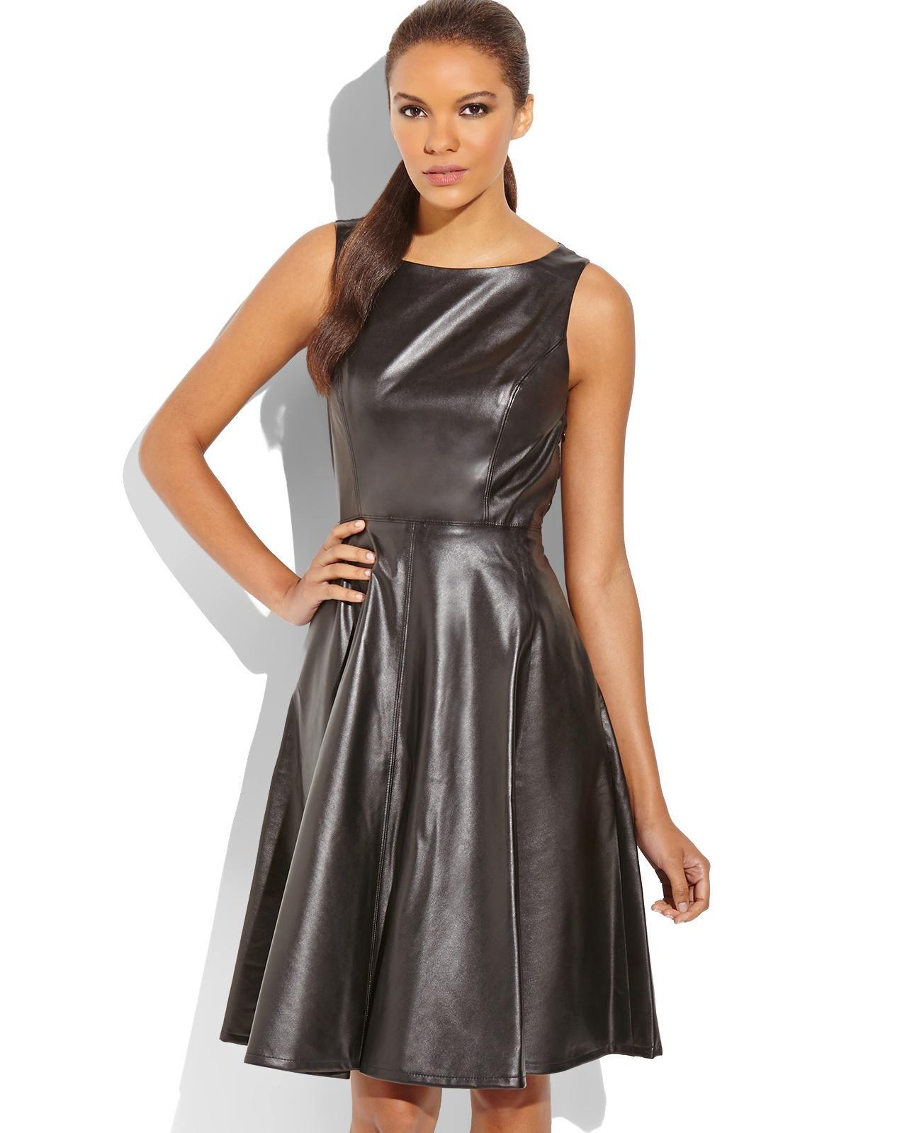 ISAAC MIZRAHI Black Faux Leather Dress discoglam dresses