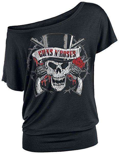 Guns N' Roses Top Hat Skull Girl-Shirt schwarz S