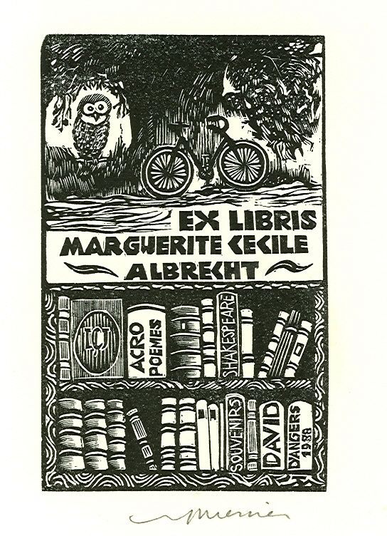 Wood engraved ex libris by Jocelyn Mercier for Marguerite Cecile Albrecht, 1996