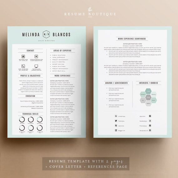 Resume Template 4page CV Template Cover by TheResumeBoutique Cv v