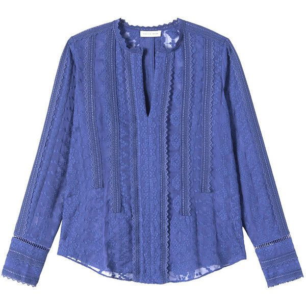 Rebecca Taylor Women's Longsleeve Embroidered Chiffon Top, Chalk, 0 Rebecca  Taylor http:/