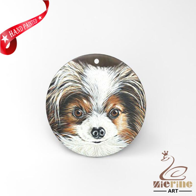 HAND PAINTED DOG SHELL CREATIVE NECKLACE PENDANT ZP30 01232 #ZL #PENDANT