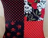 Red and Black Goth Emo Skulls and Roses Patchwork Pillow