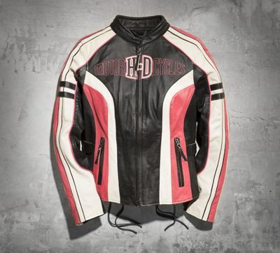 Pink Harley Davidson Leather Jacket Women's Ridgeway.  Even I would wear this one!!