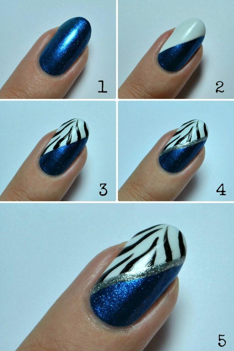 fingernägel design blau glitzer zebra silber streifen idee | nokti ...