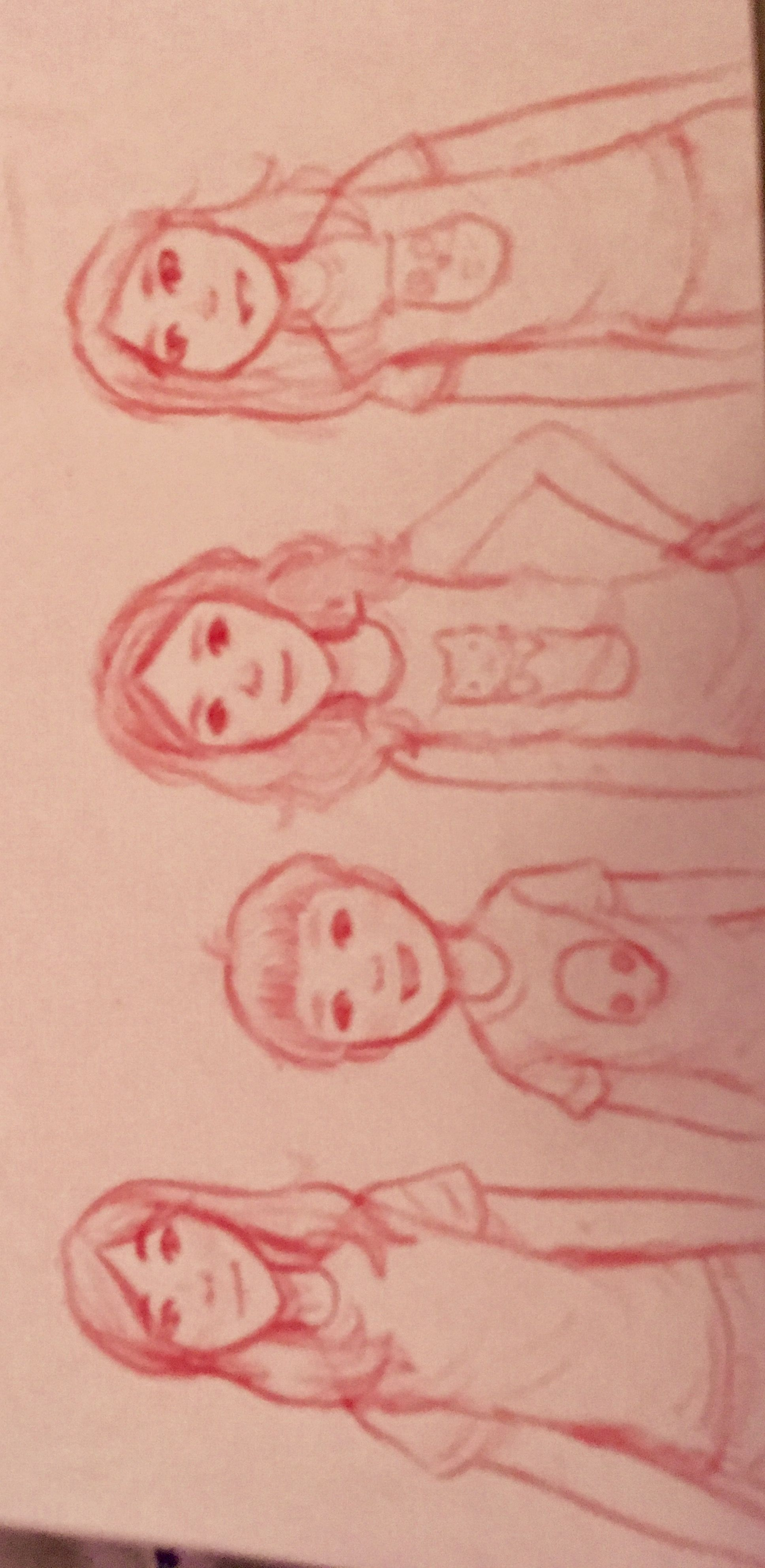 Sorry if it is upside down but i tried to draw my cousins and me