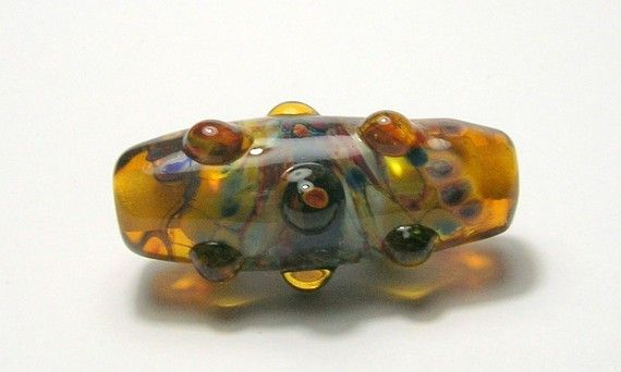 Brown/Topaz Raised Dot Tubular Focal Bead Handmade by amazingbeads - 12 euro