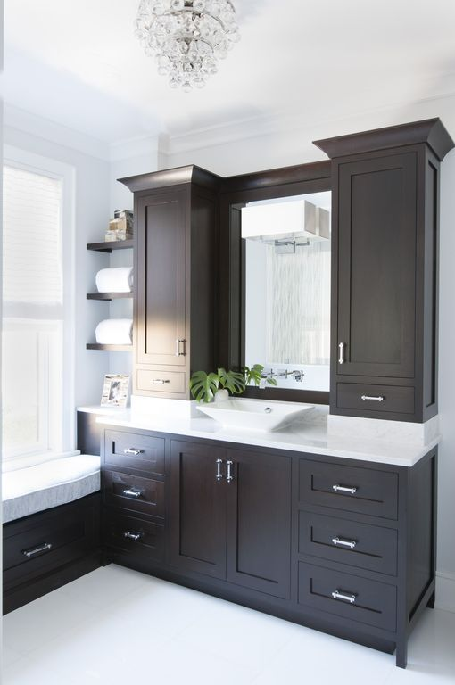 Contemporary Master Bathroom With Vessel Sink Concrete Tile Complex Marble Counters Window Seat Crown Molding Chandelier