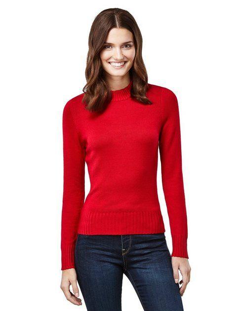 Pullover mit geripptem Stehkragen   Pullover mode, Pullover