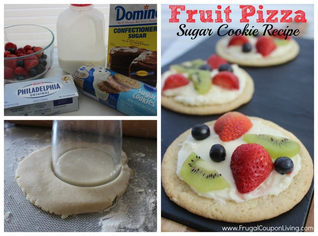 Sugar Cookie Fruit Pizza - Cookie Dough Crust and Cream Cheese Center