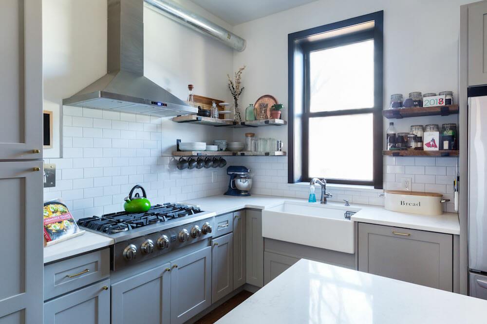 Kitchen Trend Open Shelves Vs Upper Closed Cabinets In 2021 Simple Kitchen Kitchen Trends Open Kitchen Shelves
