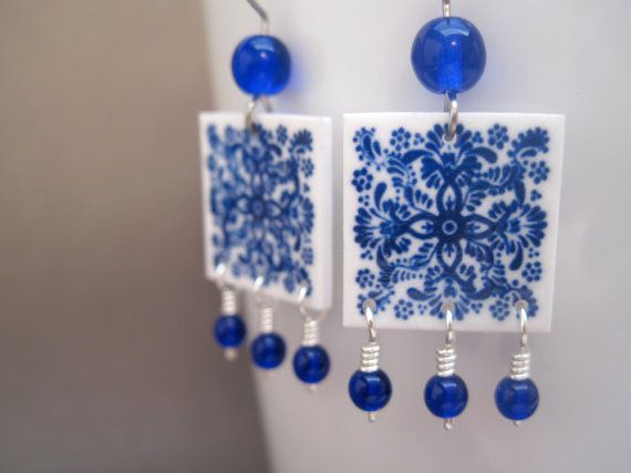 Blue and white mexican tile earrings cobalt glass beads mto blue and white mexican tile earrings cobalt glass beads mto mexican jewelry cinco de mayo fashion talavera tile chandelier earrings mozeypictures Images