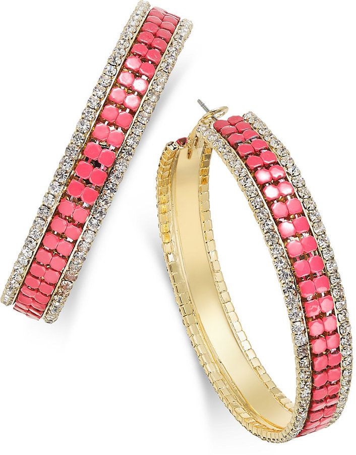 Thalia Sodi Gold-Tone Pink Bead and Pavé Mesh Hoop Earrings, Only at Macy's
