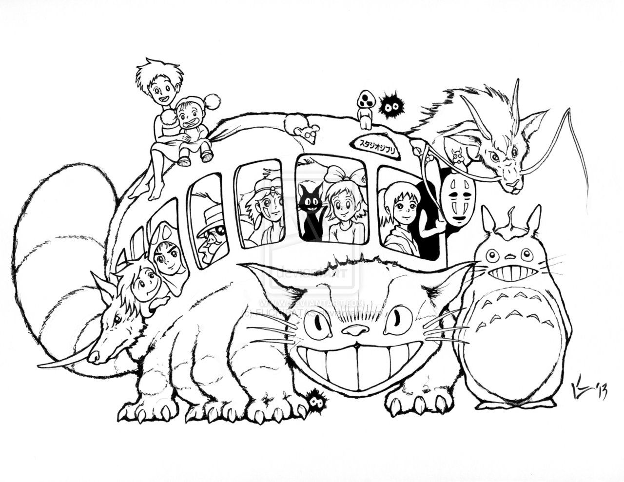 studio ghibli coloring pages Studio Ghibli Catbus for AICN Contest   INKS by FUCHIPATAS  studio ghibli coloring pages