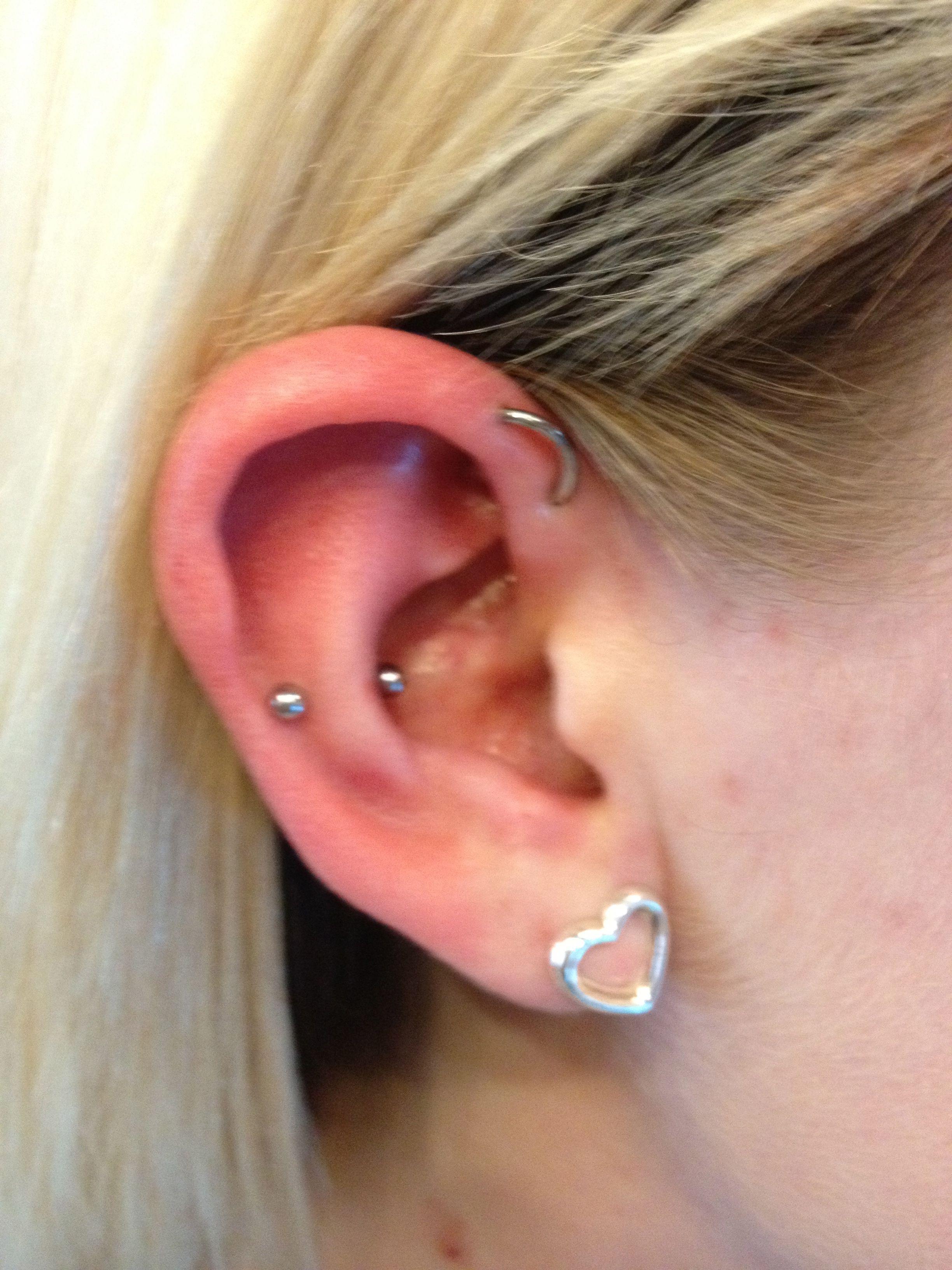 Snug piercing ideas  Forward helix orbital and a snug piercing  piercings  Pinterest