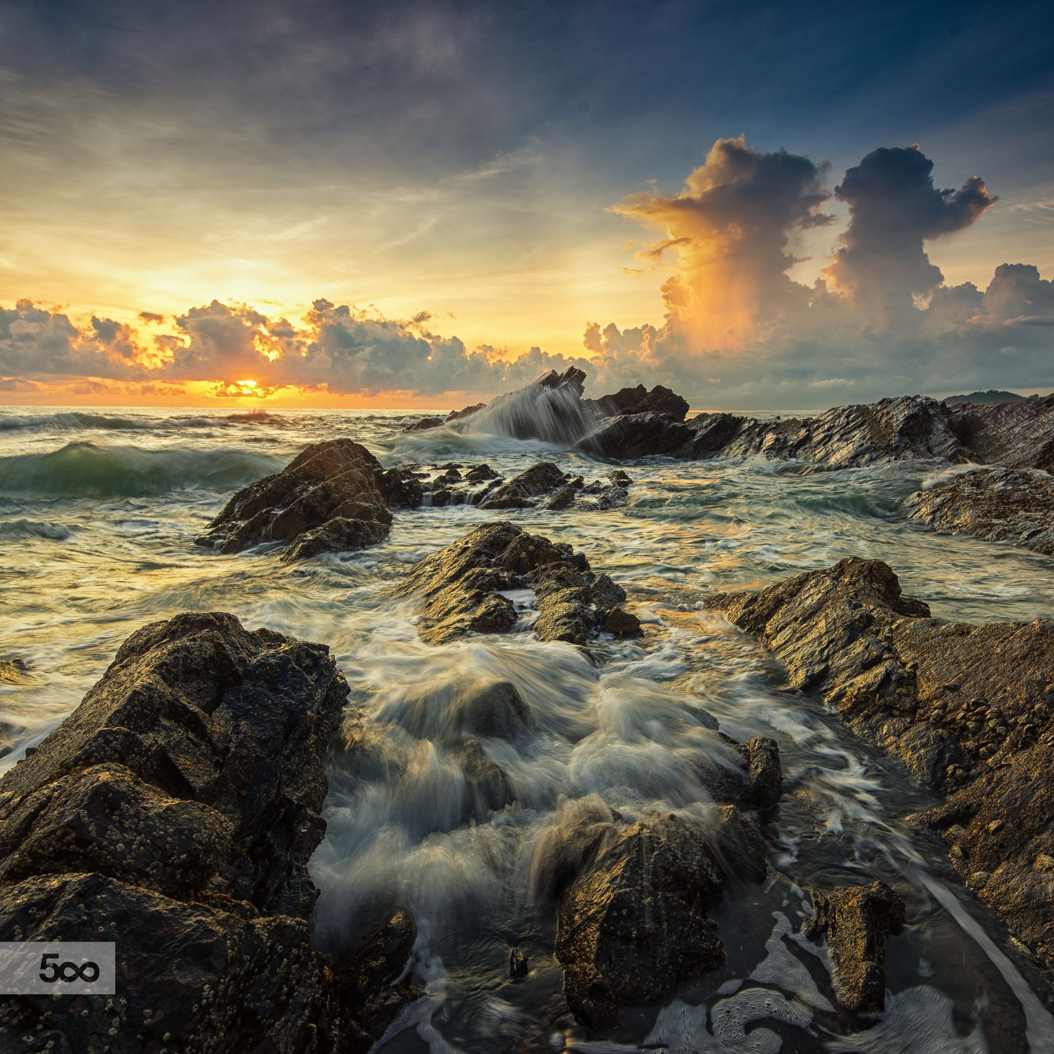 Rocks And Wave