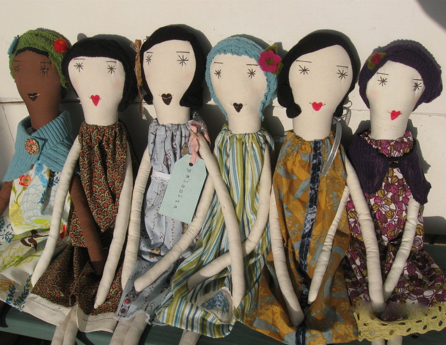 Handcrafted Rag Dolls - 22 Inches - Recycled and Vintage Textiles - One of a Kind - Custom & Wholesale Welcome. $120.00, via Etsy.