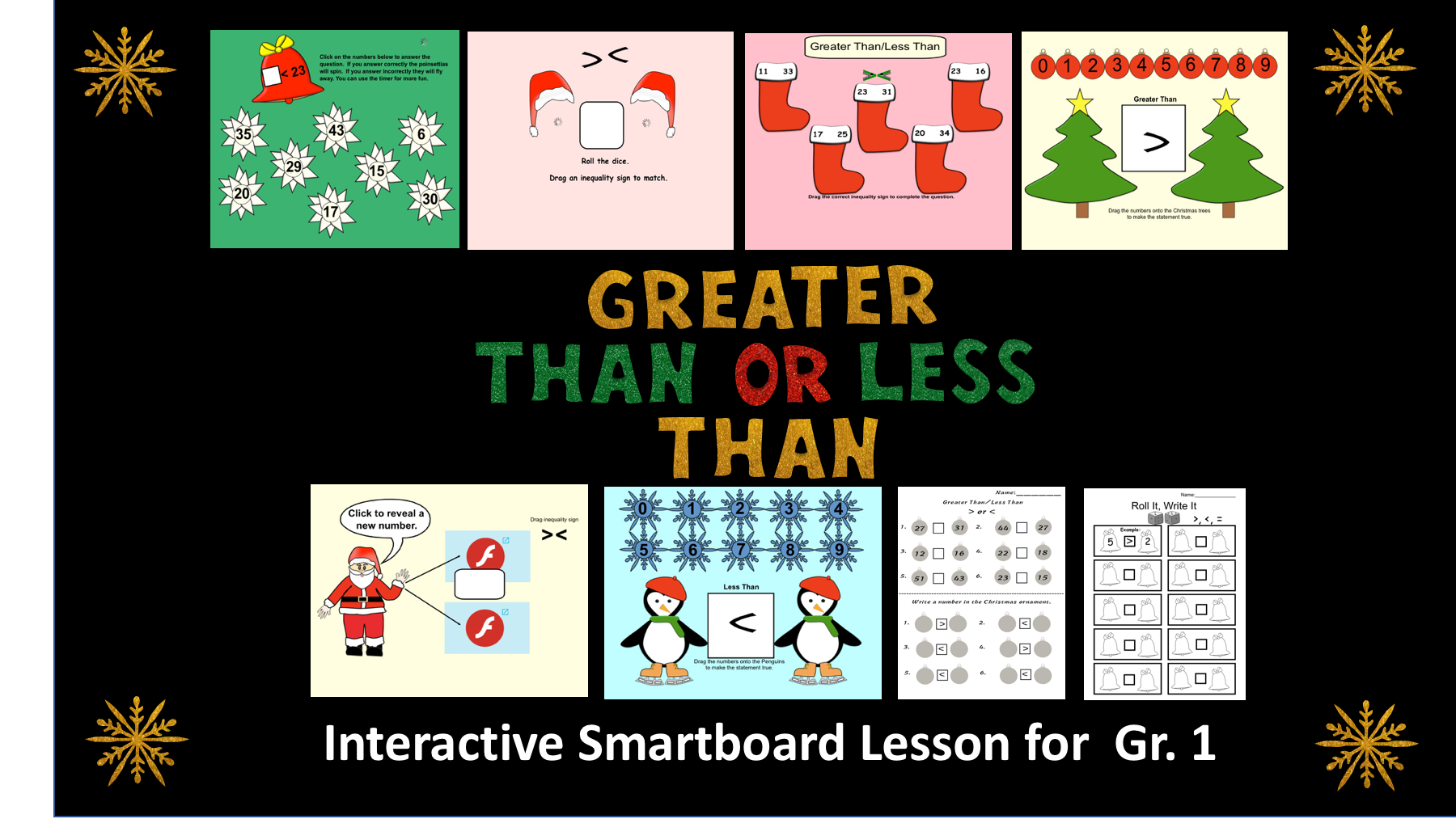 Greater Than Less Than Interactive Smartboard Lesson