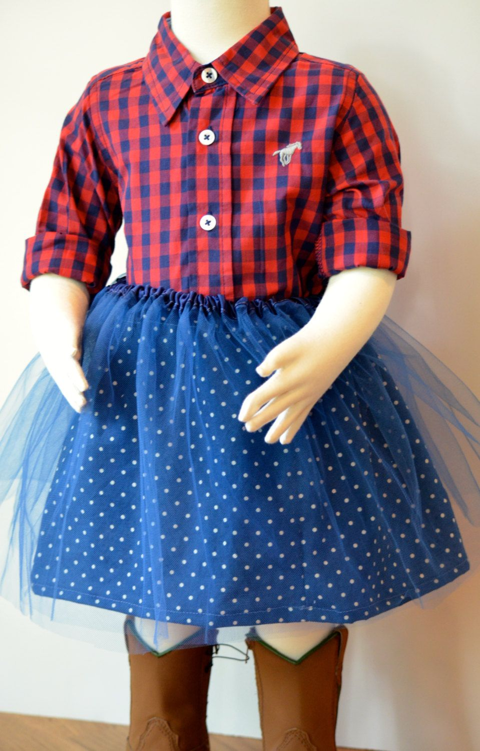 Girls Blue and Ivory Polka Dot Skirt with Detachable Tulle Overskirt by 4Missyandme on Etsy