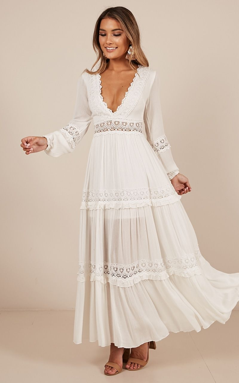 Ariel maxi dress in white produced white flowy dress
