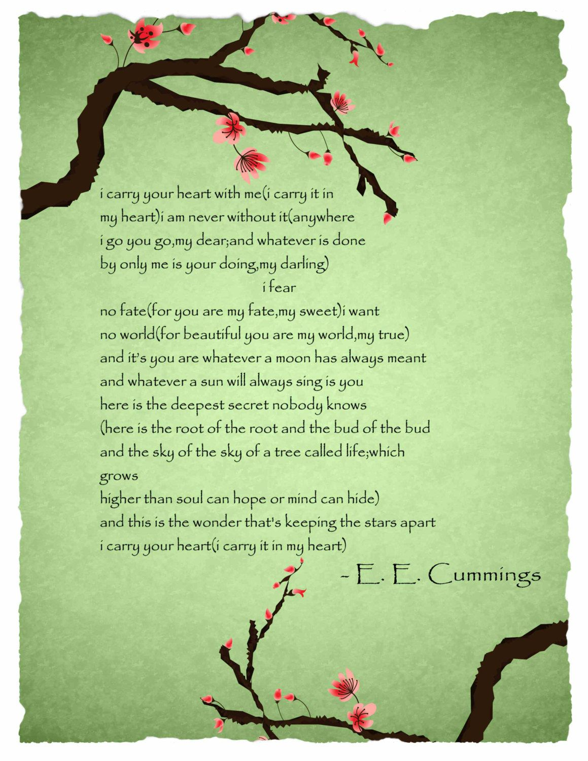 Ee Cummings I Carry Your Heart With Me Poem Poster By