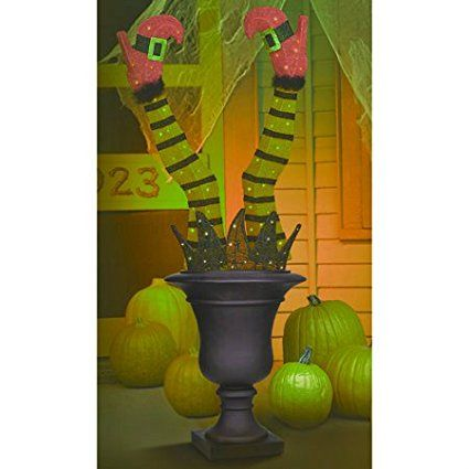 Pre Lit Green Black Purple Tinsel Witch Leg Feet - large outdoor halloween decorations