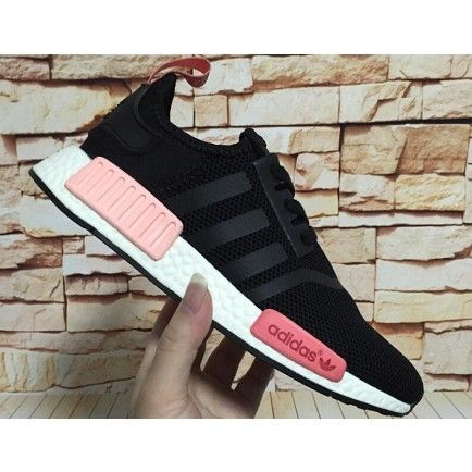Womens Adidas Originals NMD Runner Primeknit Black Pink White  422c6a9696