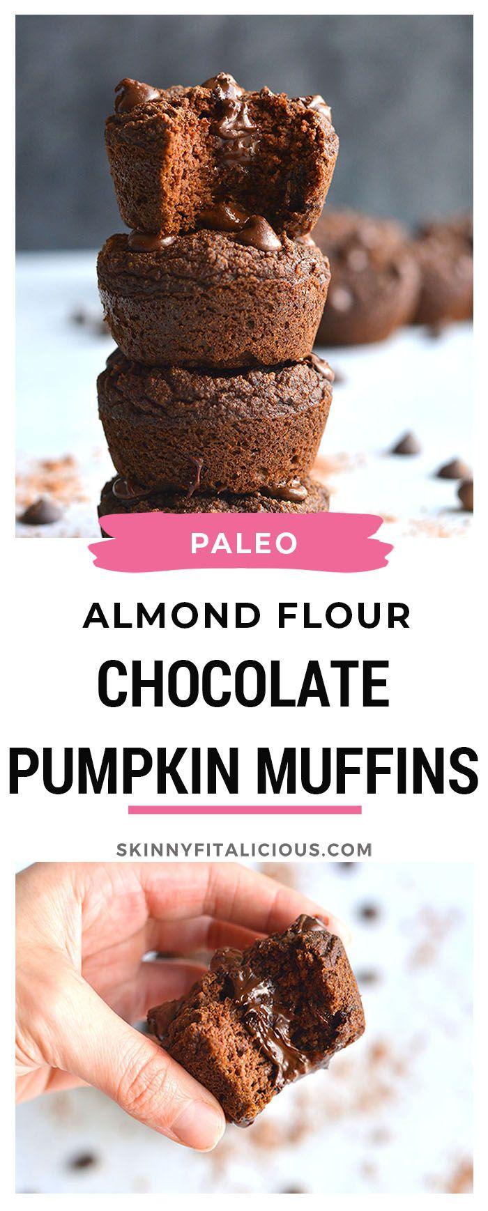 Chocolate Pumpkin Almond Flour Muffins! #Paleo #dairyfree #grainfree #eggfree #pumpkin #chocolate #muffin #healthy #lowcalorie #glutenfree #skinnyfitalicious #pumpkinmuffins