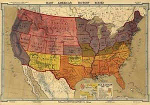 24x36 vintage reproduction civil war map secession 1860 1861 civil american history map of secession freerunsca Images
