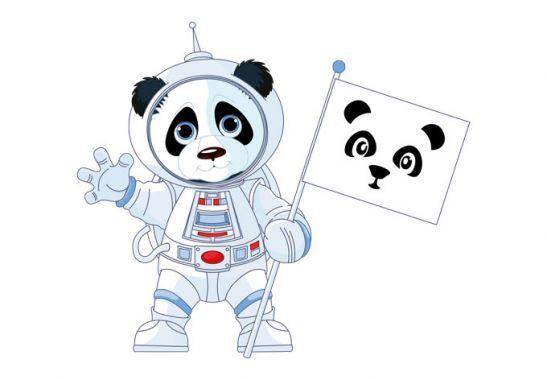 Muurstickers - Muursticker Panda als Astronaut