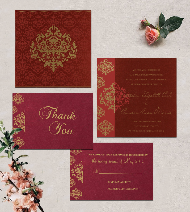 Wine Red Shimmery Damask Themed Screen Printed Wedding Card In 8254b 123weddingcards Hindu Wedding Invitations Hindu Wedding Cards Custom Wedding Cards