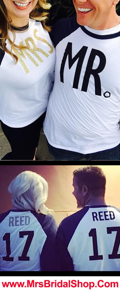 Customize your own MR. & MRS. Baseball Tees! Click here to buy https://mrsbridalshop.com/collections/couples/products/mr-mrs-gold-baseball-tees-custom-names-numbers-pick-color