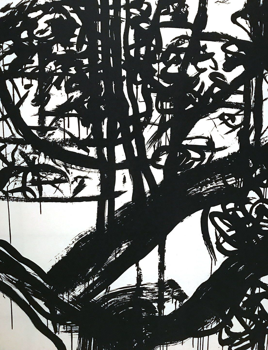 Pat steir abstract black and white abstract paper drawing