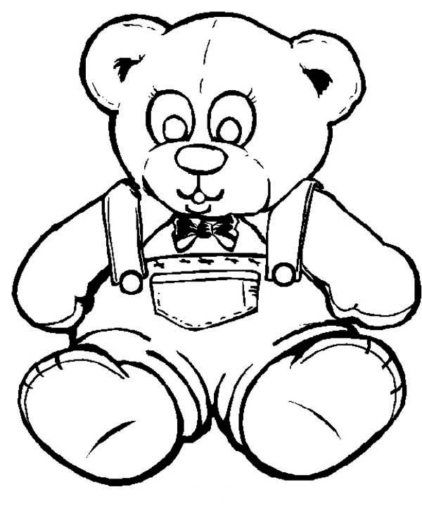 Teddy bear wearing jeans coloring page color luna