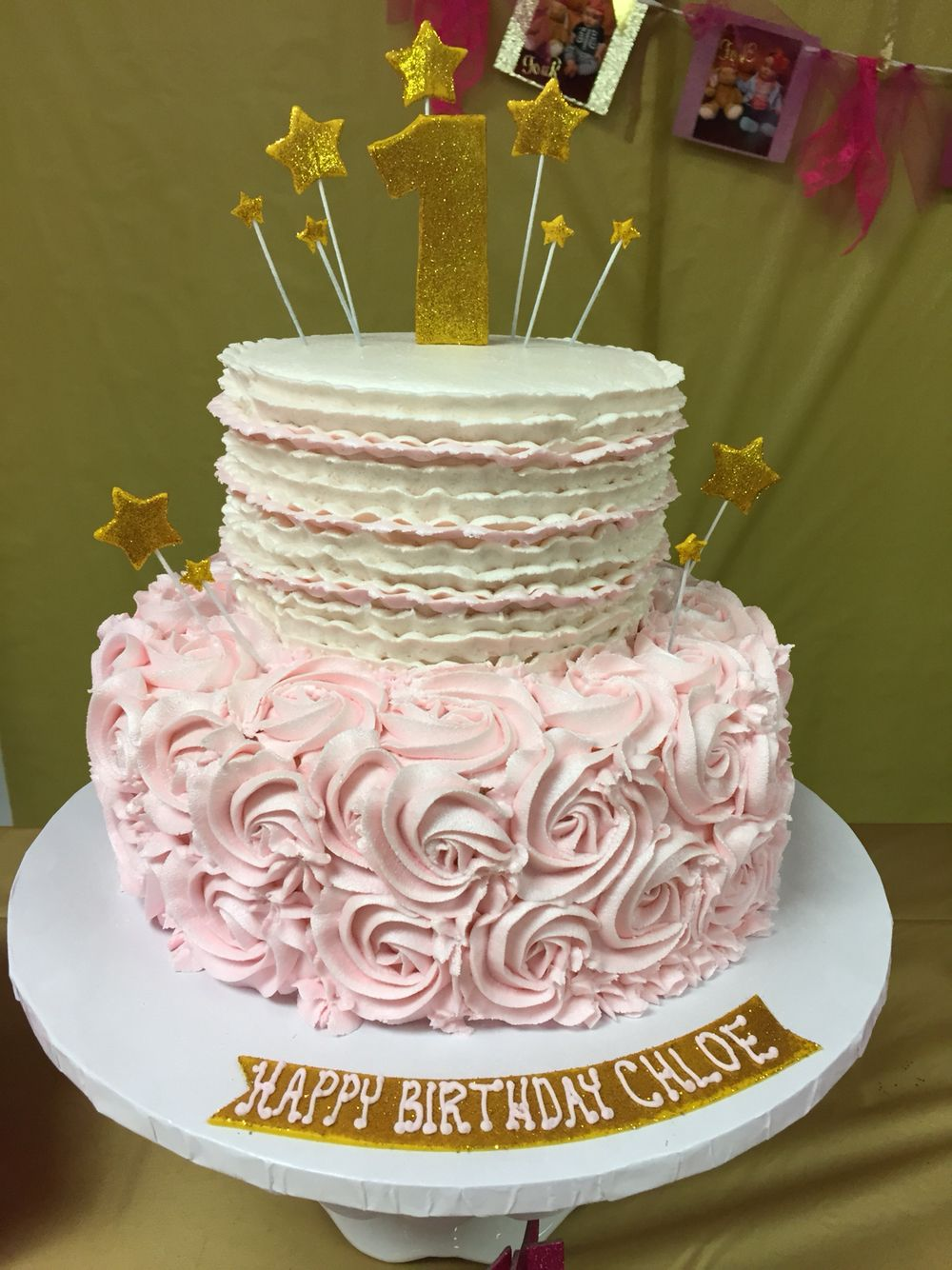 Twinkle Twinkle Little Star First Birthday Pink And Gold Cake