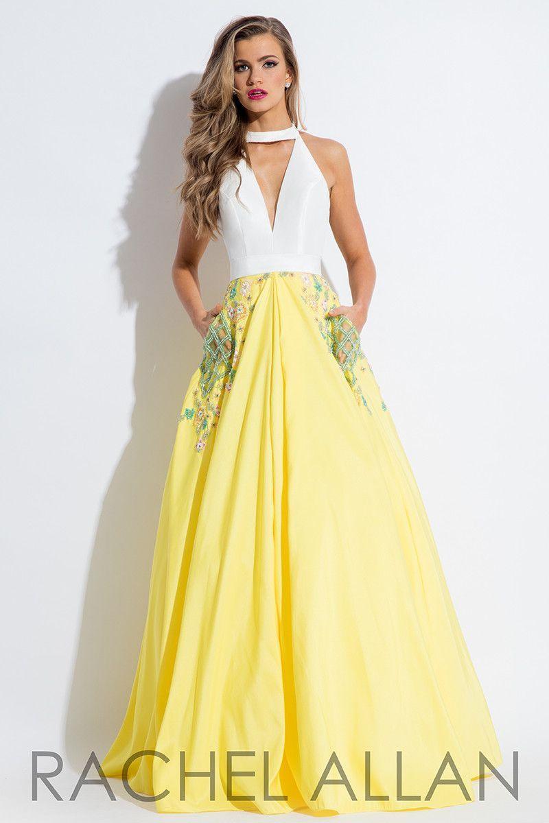 Yellow and white prom dress