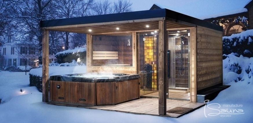 Combined Sauna House With Canopy, Jacuzzi, Shower.
