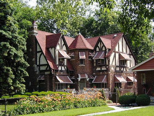 Tudor With Awnings Via Flickr Tudor Style Homes English Tudor Homes Tudor House