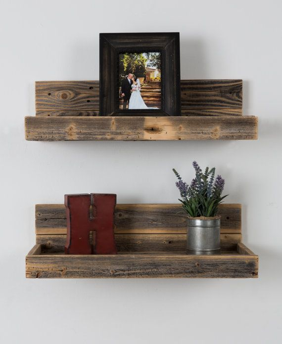 reclaimed wood floating shelves in 2019 living room wood rh pinterest com