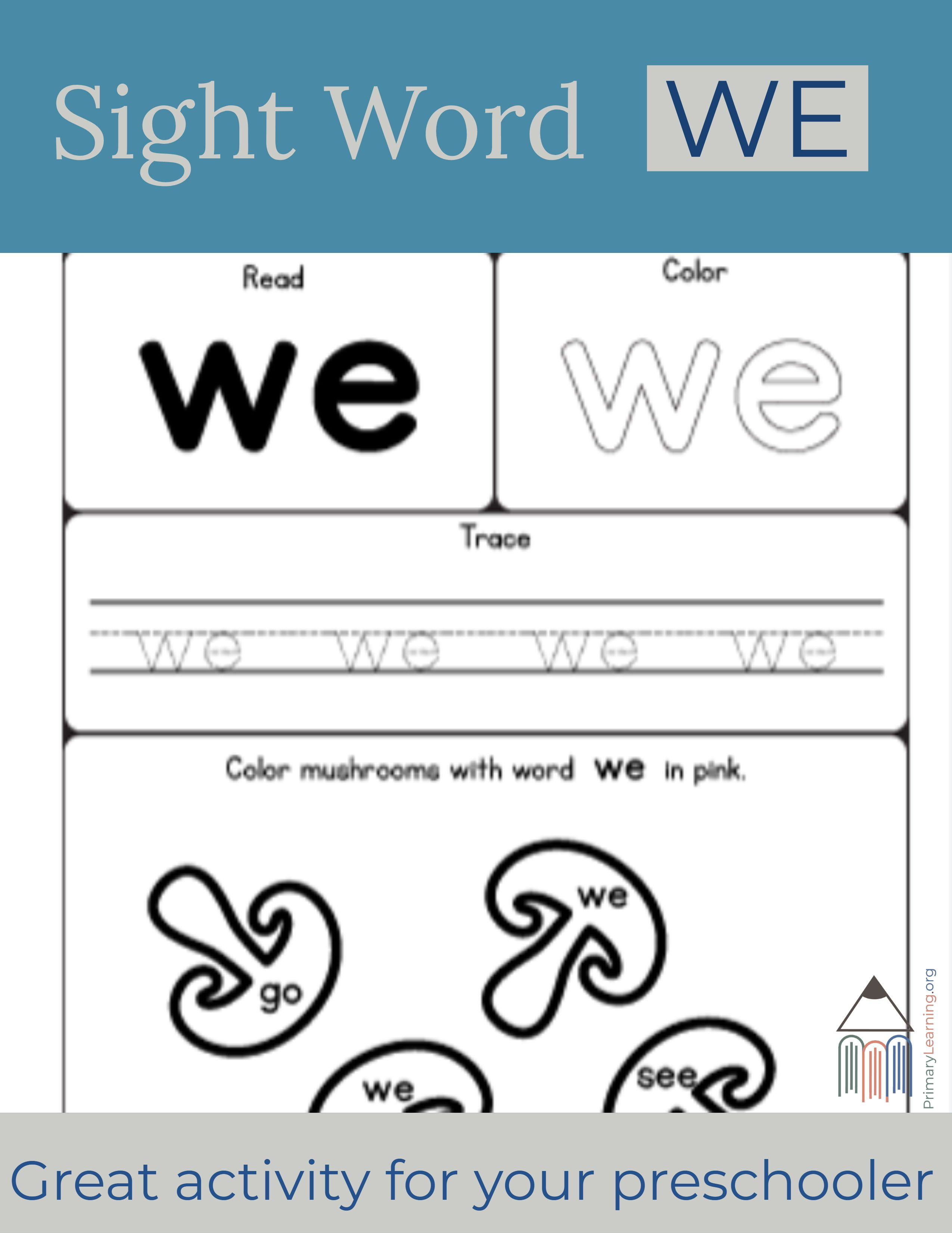 Sight Word We Worksheet Primarylearning Org Sight Word Worksheets Sight Words Pre Primer Words