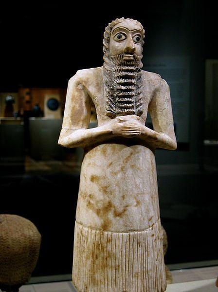 Male worshiper 2750-2600 B.C.: Eshnunna (modern Tell Asmar) Alabaster (gypsum), shell, black limestone, bitumen; H. 29.5 cm
